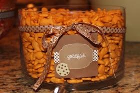 Elmo & Cookie Monster Birthday Theme: Bowl of Elmo's Goldfish.