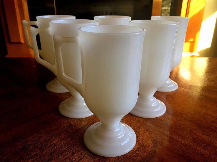 Milk Glass Irish Coffee Cups, White Coffee Mugs, Set of Six by MoonRiverGirl on Etsy https://www.etsy.com/ca/listing/481774361/milk-glass-irish-coffee-cups-white