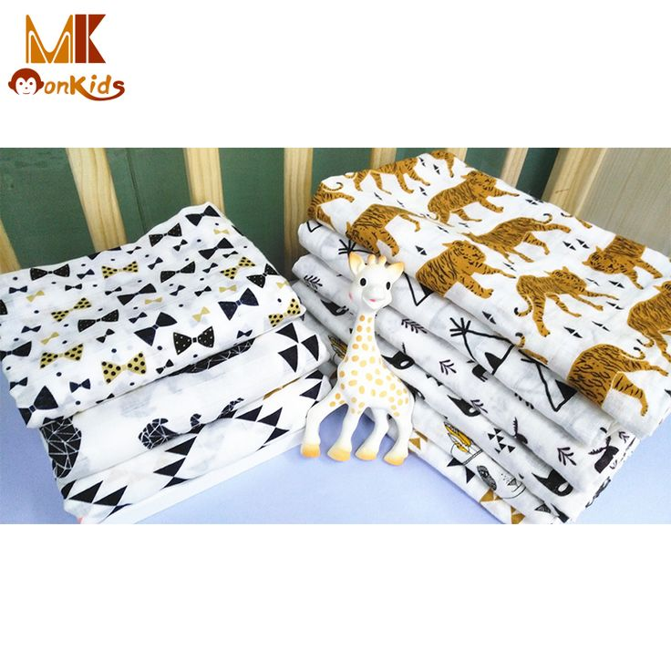 Monkids 2017 Baby Swaddle Muslin Blankets Newborn Photography Props Basket Cartoon Printed Cotton Soft Breathable Baby Blanket