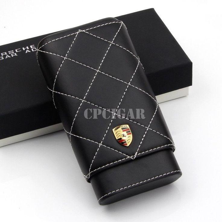 Porsche Black Leather Wood Lined Portable Cigar Case