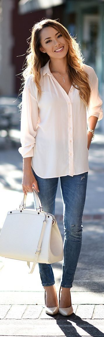 #street #style #womens #fashion #spring #outfitideas | White and Blue basics  |Hapa Time