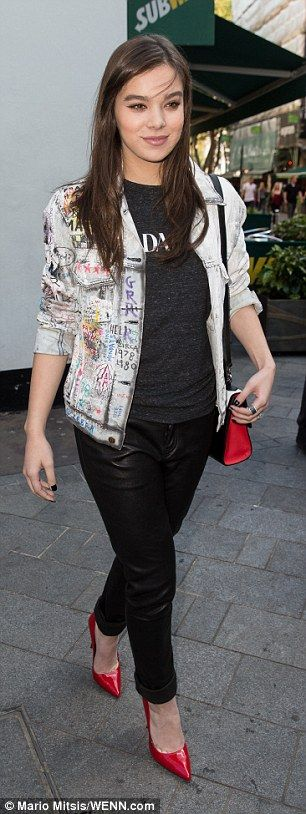 Busy day: Earlier on Thursday Hailee added some glam touches for a visit to Capital Radio in London