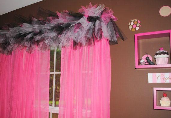 Zebra Tulle Valance-  Black, White and HOT pink Tulle Valance - Tutu Valance
