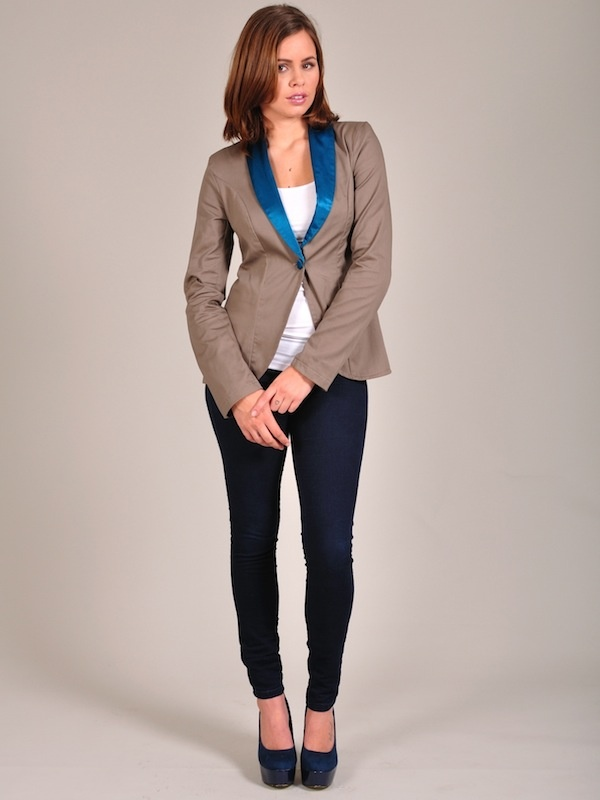 Diligo taupe and teal colour block blazer | www.diligo.co.za
