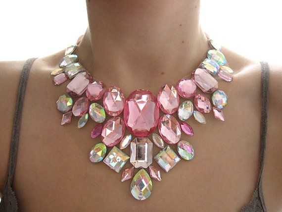 Pink Statement Necklace, Rhinestone Bib Necklace, Clear Aurora Borealis, Rhinestone Statement, Bib Necklace, Deco Loli Jewelry via Etsy