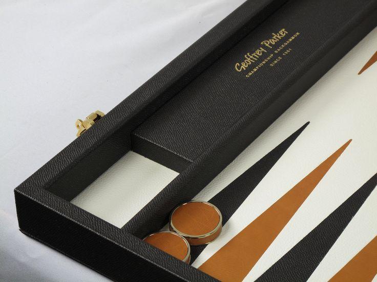 Our gilt hardware works beautifully with a darker case #bespoke #backgammon #luxury #custom #leatherwork #games #backgammonsets #design #luxurygoods #leather #handmade #craftsmanship