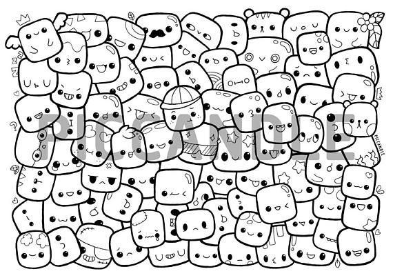 Marshmallows Doodle Coloring Page Printable Cute Kawaii Etsy Seni Doodle Seni