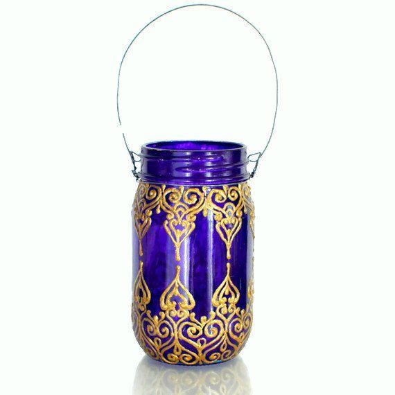 Mason Jar Lanterna Royal Purple vetro con dettagli di LITdecor