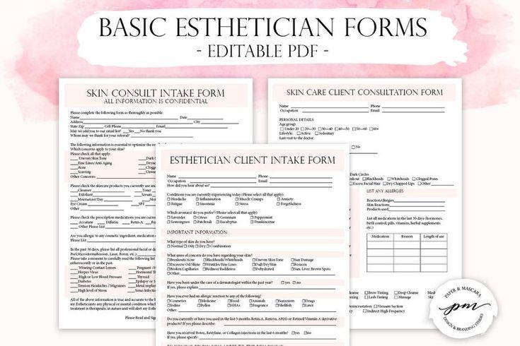 Esthetician business planner editable esthetician client