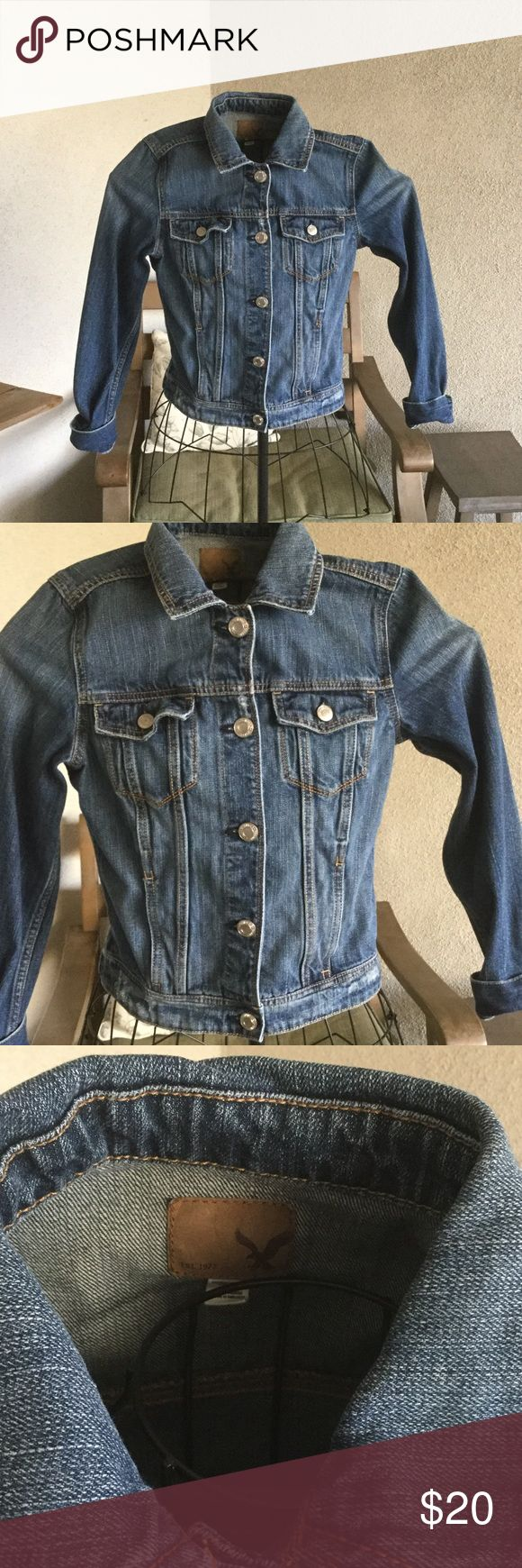 American eagle jean jacket Full length button down jean jacket never worn. Feel free to offer. American Eagle Outfitters Jackets & Coats Jean Jackets