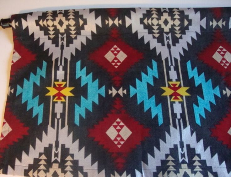 Southwest Valance with Red, Turquoise, Silver on Black Curtain Custom Made #CustomMade #Southwestern