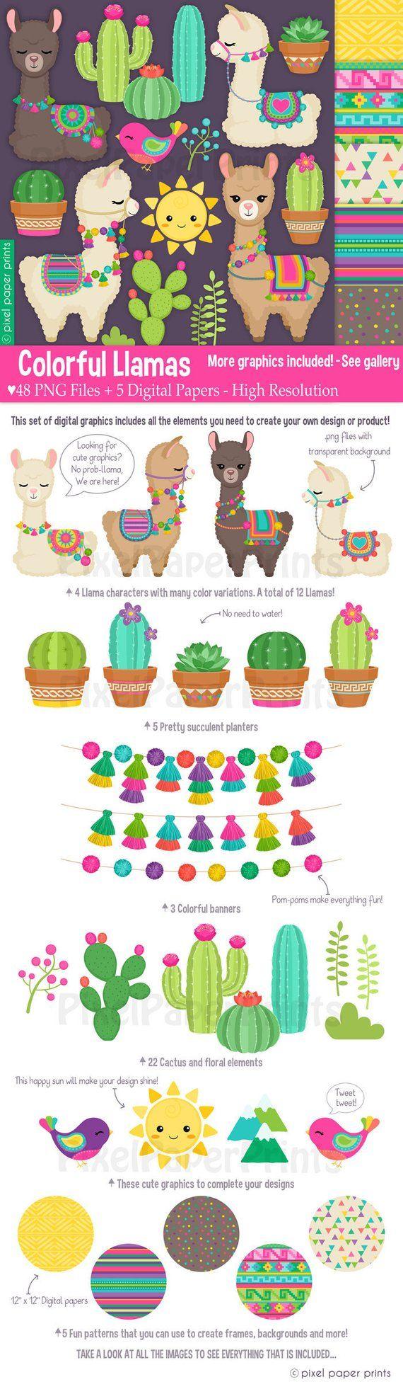 Colorful Llamas Decorated Llama Clipart Alpaca Clip Art Etsy In 2020 Clip Art Llama Clipart Digital Sticker