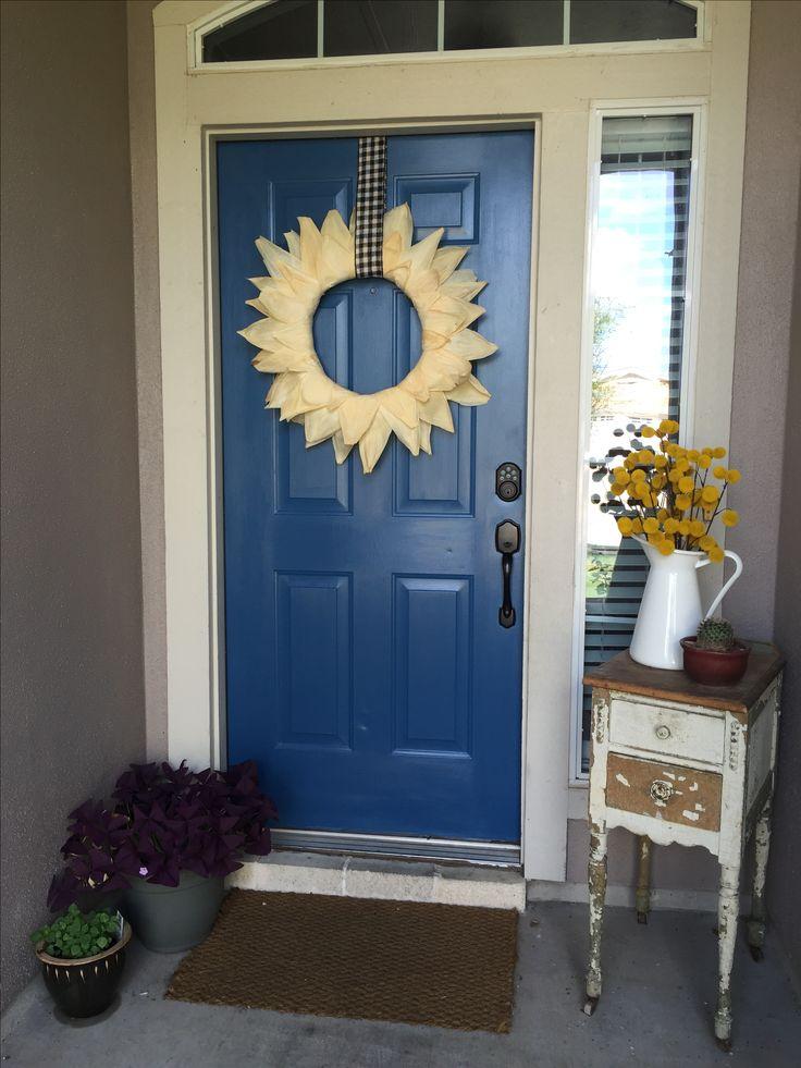 Blue door: Chinese Porcelain Lowes paint. Martha Stewart corn husk wreath. Fall 2016