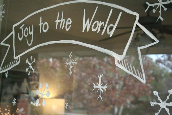 Christmas window art. I like the banner look with happy holidays written inside