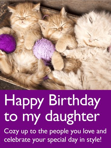 "Adorable Cat Happy Birthday Card for Daughter: These content little kitties come with a special message for your daughter's birthday: ""Cozy up to the people you love and celebrate your special day in style!"" And what's more fun than being surrounded by family and maybe a few feline friends? Whether she's a cat lover, or just appreciates cute birthday cards, you can be sure she'll think this year's birthday greeting is absolutely ""purr-fect""!"