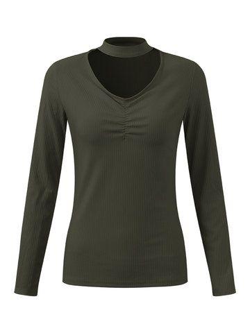 Camiseta sexy con gargantilla con cuello en V de mangas largas de color puro para mujeres - NewChic Móvil