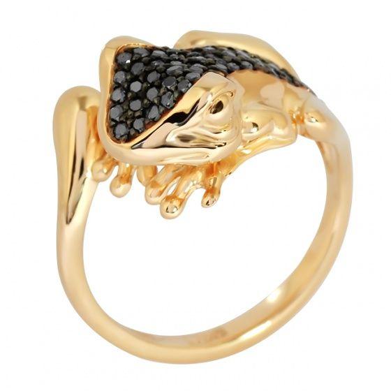 """Кольцо """"Лягушка"""":  Красное золото, 48 чёрных бриллиантов. #goldring, #animalring #diamond"""