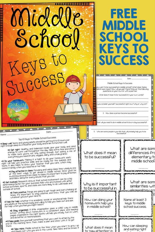 FREE Middle School keys to success - 2 worksheets and 8 task cards aimed at teaching middle school kids keys to success - doing your homework, focusing in class, getting involved, and MORE
