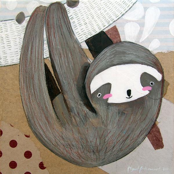 Sloth illustration - Perezoso: ilustración en técnica mixta sobre lienzo 20x20cm ---- Los perezosos son tan lentos que pueden estar en movimiento y las algas crecer en ellos. La velocidad máxima del perezoso es de 0.04 km por hora y duerme 20 horas al día. Ha hecho de la lentitud una forma de vida y de la inmovilidad la mayor de sus defensas. El perezoso pasa la mayor parte del día dormitando entre las ramas de los árboles, casi invisible para cualquier observador aunque le tenga delante.