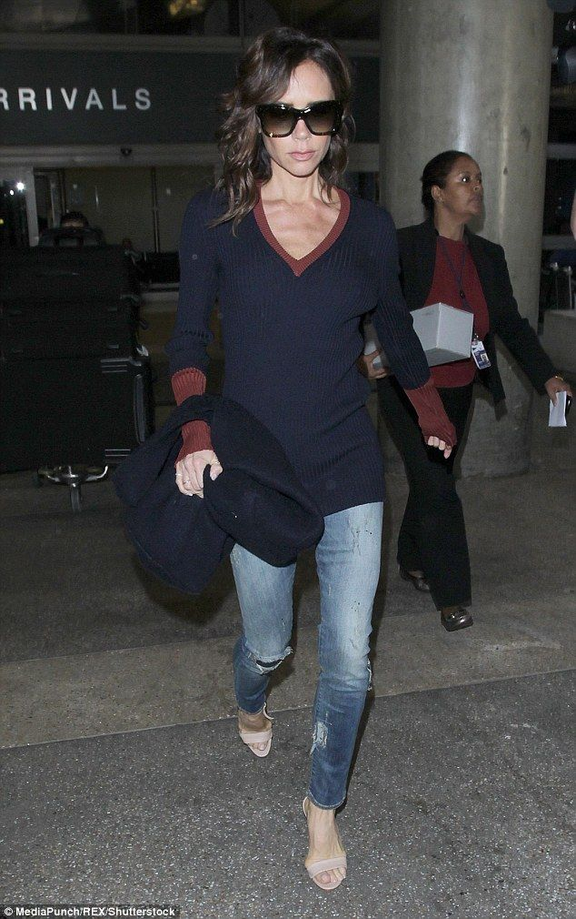 Looking good: Victoria Beckham was spotted cutting a dash at LAX Airport on Wednesday where she certainly seemed to nail casual chic