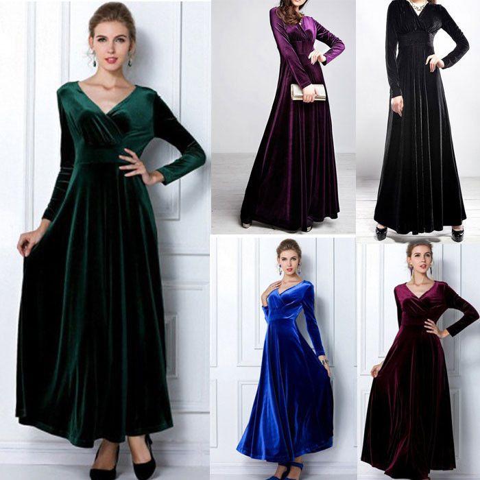 Damen V-Ausschnitt Samt Langarm Tunika Lang Kleid Abendkleid Maxikleid Party