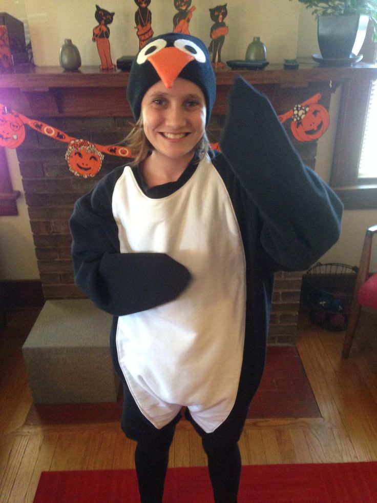 Penguin costume, large sweatshirt and some felt attached. Pretty easy to see how to make this one.
