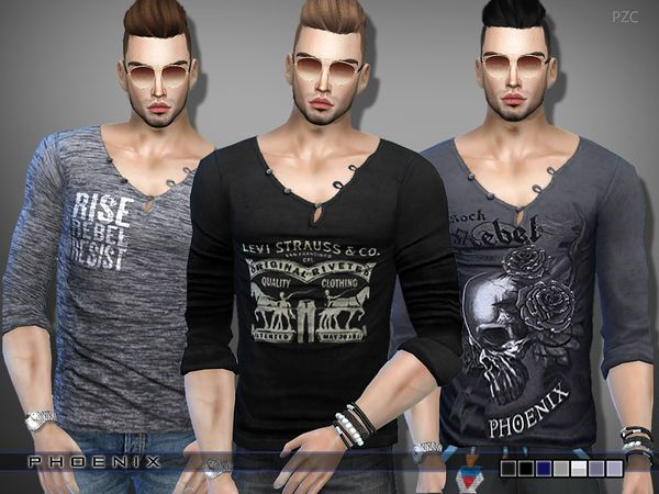 T-shirt Set by Pinkzombiecupcakes at TSR via Sims 4 Updates