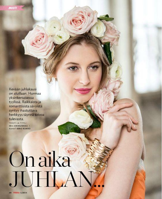 @Pirkka   Flowers Photo for Pirkka-magazine by Eero Kokko, AD: Anne Ala-Jokimäki. Style, set up, make-up, hair  fashion story by Ida Jokikunnas