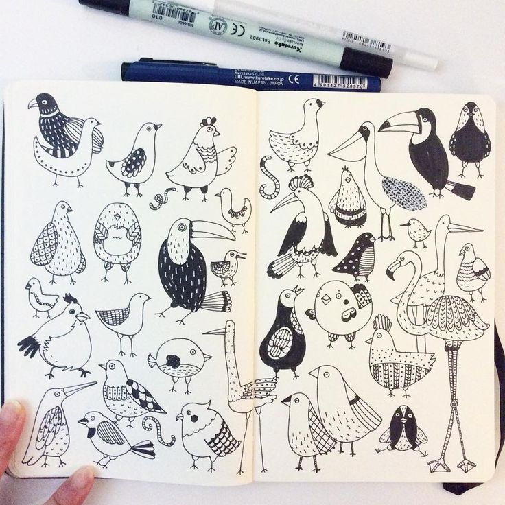 """""""Day 9. Bird. I have phobia of birds. They are scary, especially pigeons!! #CBDrawADay #creativebug #doodle #moleskineart #sketchbook"""""""