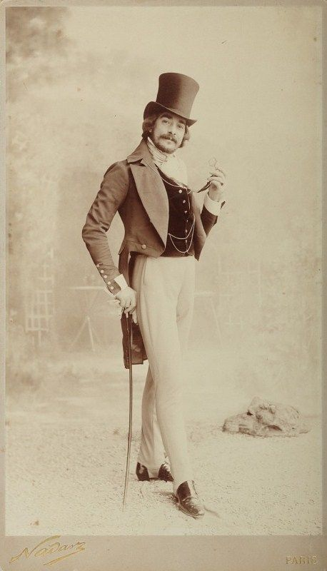 My Little Time Machine -Style from the 1840-50's - holdthisphoto: Man with top hat, stretch stirrup pants - Paris, 1890 by...