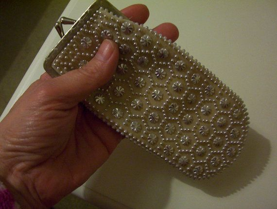Retro beaded glasses case purse cigarette by IrishShoppingBasket