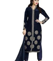 Buy blue velvet embroidered semi stitiched salwar with dupatta party-wear-salwar-kameez online