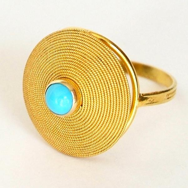 "Ring ""Corbula"" in gold filigree set with turquoise.  Gonnosfanadiga, Sardinia. Yuri Marrocu Collection.  Photo of Marina Tolu."