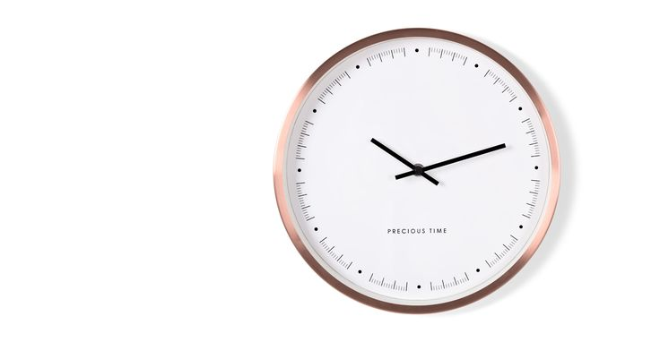 An elegant face with subtle features, housed in a deep brushed copper frame - Aurelia is the ultimate modern wall clock.