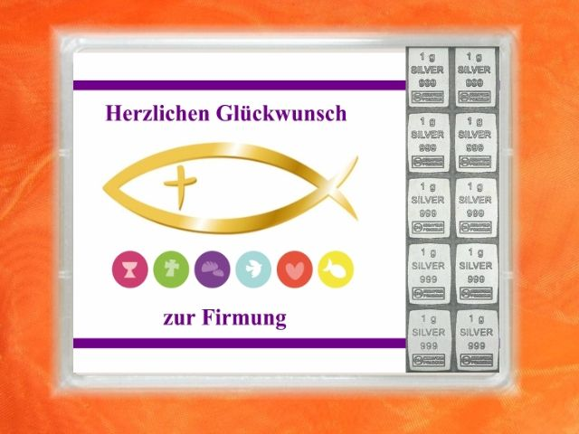 10 x 1 g Silberbarren als Geschenk zur Firmung