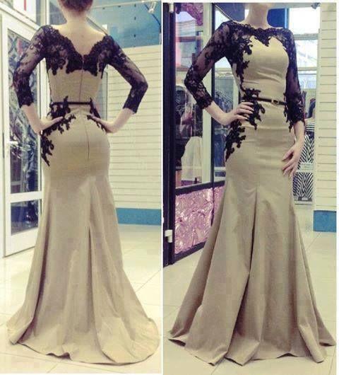 2014 lange meerjungfrau kleider mit spitze applikationen langarm formale kleider bescheiden abschlussball kleider mit Ärmel vestido sereia(China (Mainland))