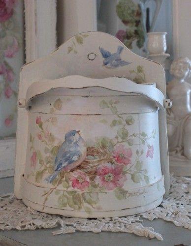 Shabby Vintage Bluebird and Roses Letter Holder