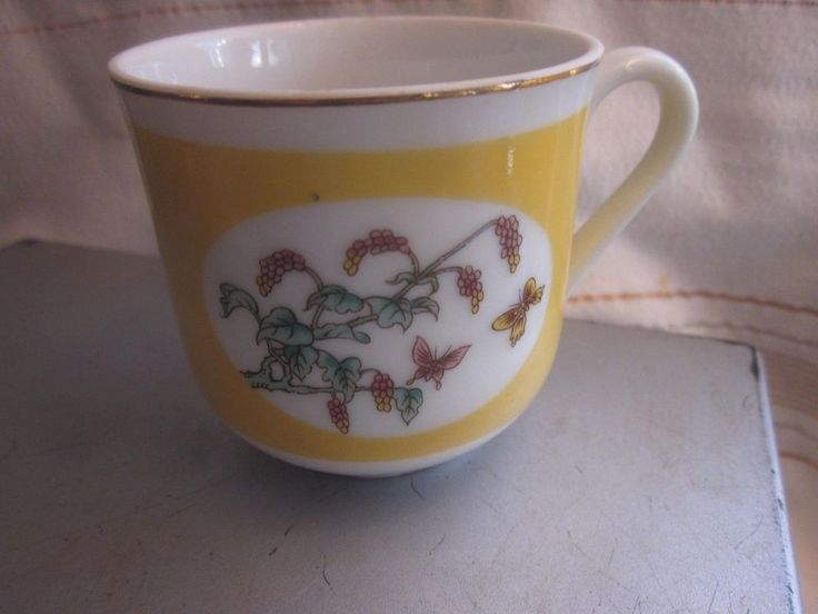 Shafford Exclusive Design Chinese Fantasy Cup Floral Butterfly Yellow Gold Rim #Shafford
