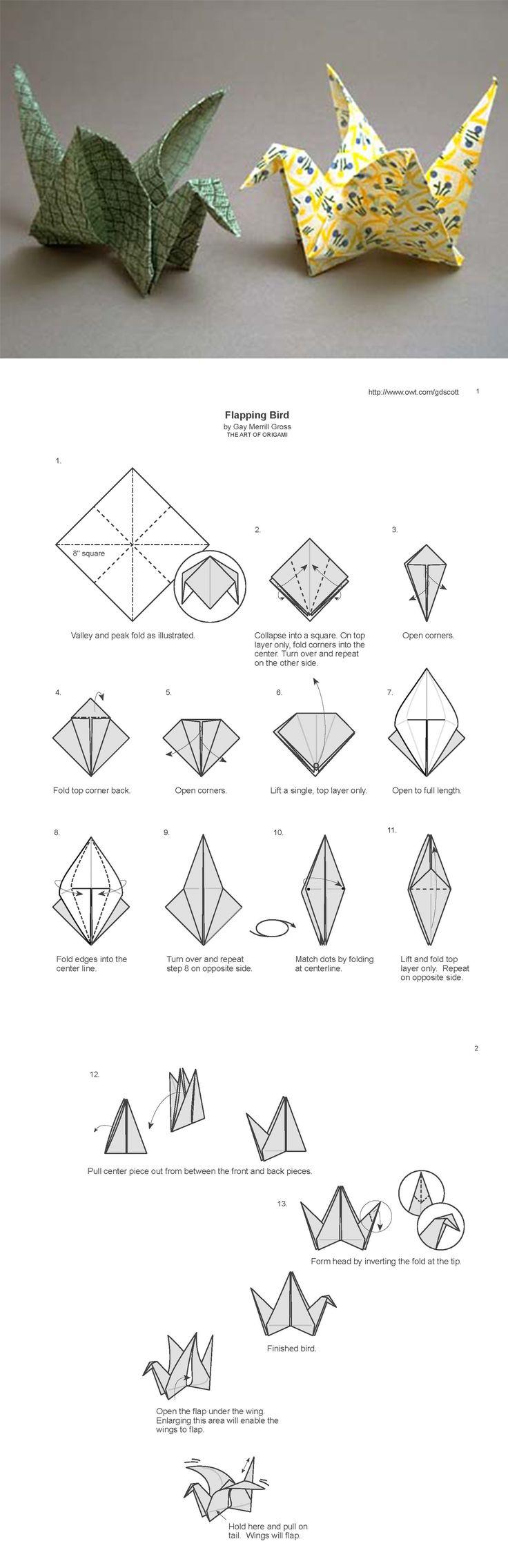 Origami flatternder Vogel / flapping bird