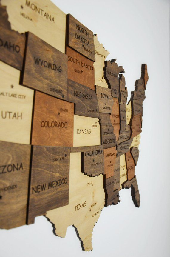 Wood Usa Wall Map US Map Of United States Wooden Wall Art Wooden Map Dorm Decor Map