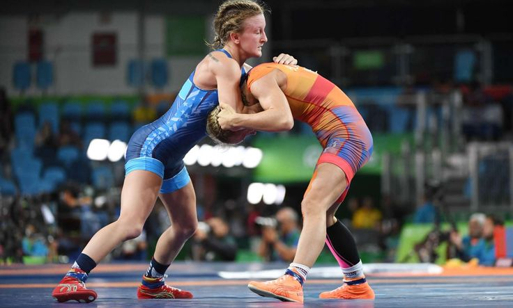 Haley Ruth Augello of the United States, left, wrestles Jessica Blaszka of the Netherlands in a women's freestyle 48 kg final bout at Carioca Arena 2 during the Rio 2016 Summer Olympic Games.