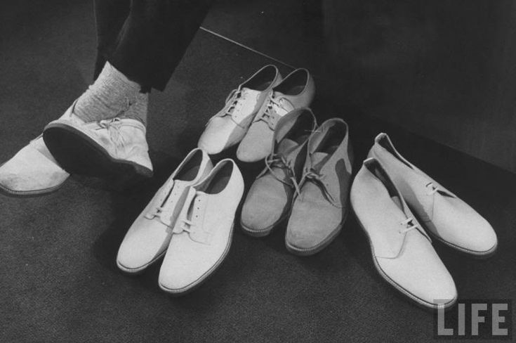 White Bucks: shoes introduced in the 1950s; white buckskin made popular by the television when singer Pat Boone wore them