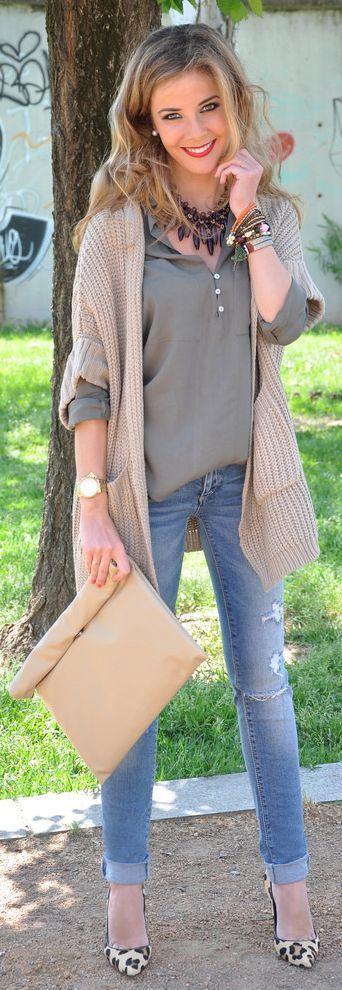 Denim Jeans Top Gray Loose Shirt And khaki Cardigan Plain Clutch Leopard Shoes - The best street fashion inspiration looks