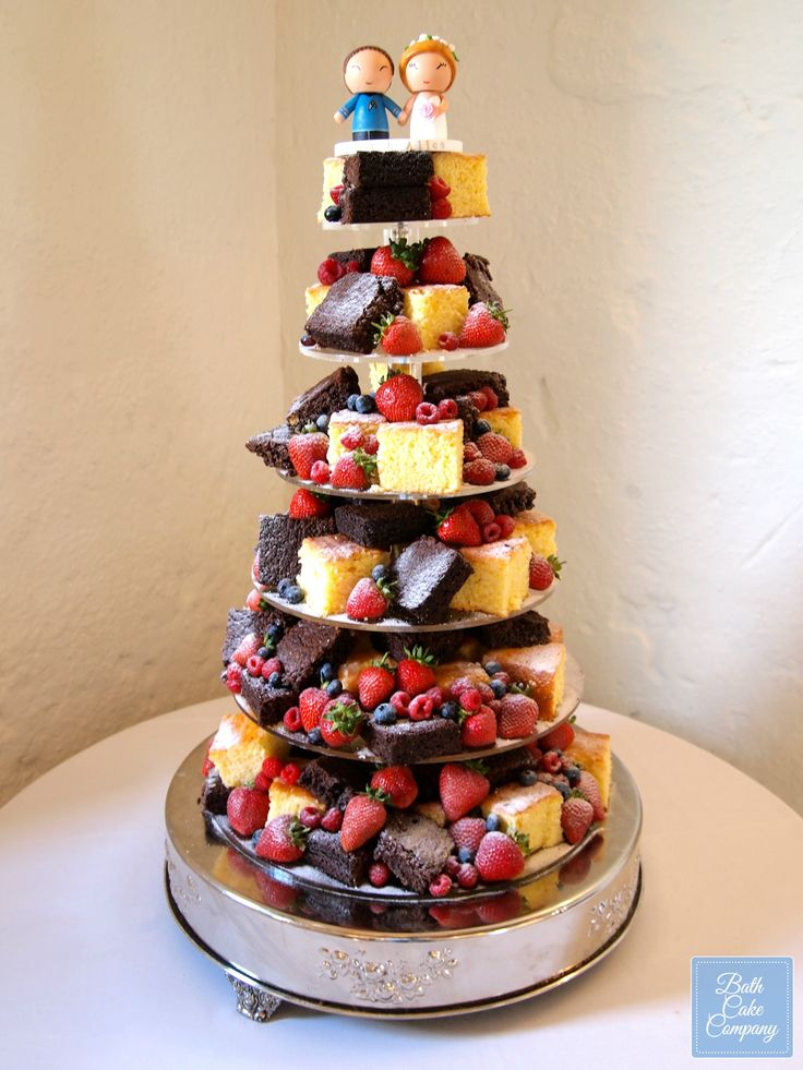 Brownie and Lemon Drizzle Wedding Tower by Bath Cake Company, set up at Priston Mill