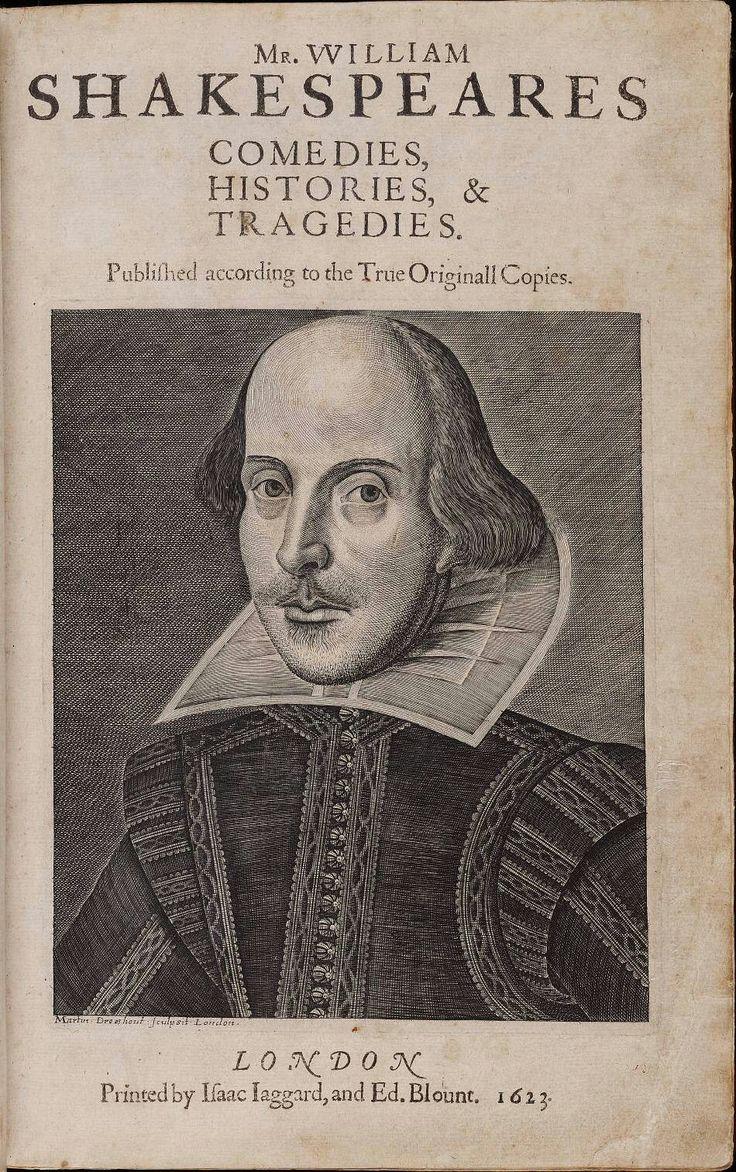 Page de titre de la première Folio, par William Shakespeare, avec la gravure de cuivre de l'auteur Martin Droeshout. Image courtoisie de l'Elizabethan Club et le Rare Book & Manuscript Library Beinecke, Université de Yale