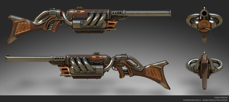 ArtStation - Steampunk Rifle, Dave Parker -  Game res - 7k tris. Maya, Substance Painter
