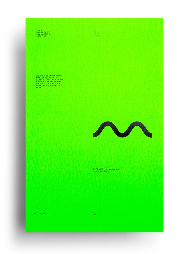 Fluorescent green poster with black block foil detail designed by Face for tour management agency Motion Music