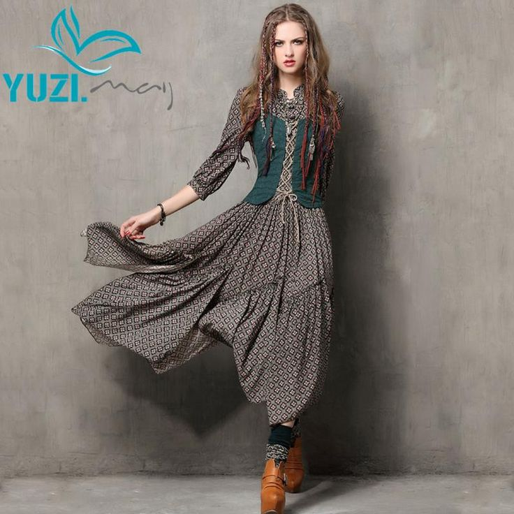 Yuzi Bohemian Attached Vest Below Knee Wide Swing Dress