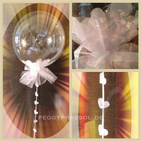 Konfettibubble mit Herzkonfetti Bubbleballon mit Herzdeko Gasballon-Bubble