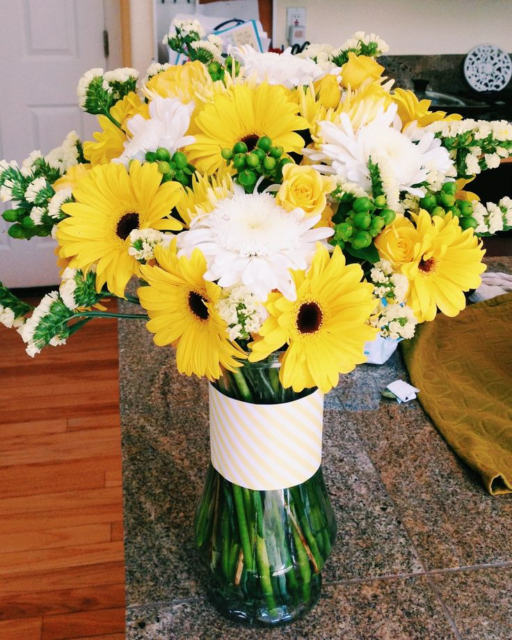 Flower Arrangement Ideas For Dinner Party Part - 40: Yellow Flower Arrangement/centerpiece With Gerber Daisies, Mums, Spray  Roses, Stasis And